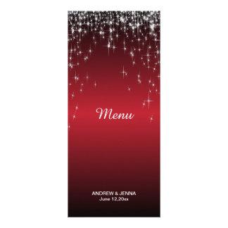 Starry Night Wedding in a Romantic Dark Red Rack Card Design