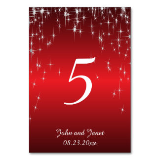 Starry Night Wedding in Colour   Metallic Red Card