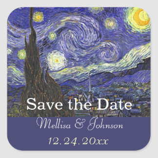Starry Night wedding save the date Square Sticker