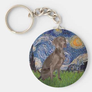 Starry Night - Weimaraner (Z) Key Ring