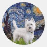 Starry Night - Westie 10 (L) Round Stickers