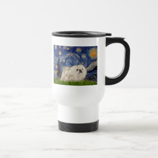 Starry Night - White Pekingese 4 Travel Mug
