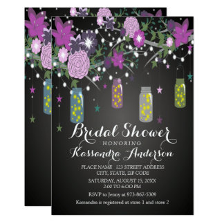 Starry Night With Mason Jars Bridal Shower Card