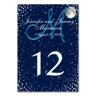 Starry Night with Moon Monogram Card