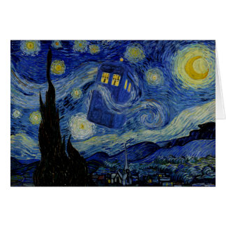 Starry Night with Police Box by StealthGeekery Card