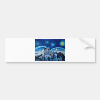 Starry Night with Romantic Castle Van Gogh inspire Bumper Sticker