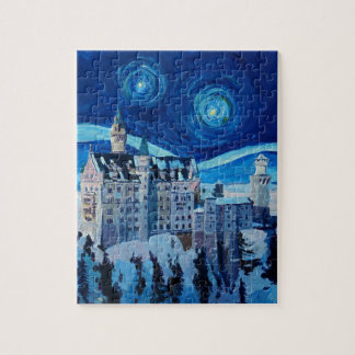 Starry Night with Romantic Castle Van Gogh inspire Jigsaw Puzzle