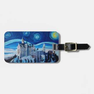 Starry Night with Romantic Castle Van Gogh inspire Luggage Tag