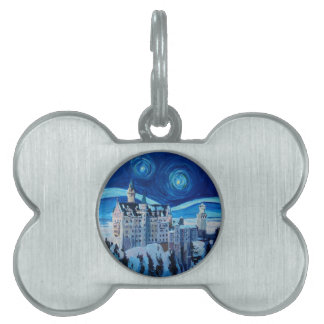 Starry Night with Romantic Castle Van Gogh inspire Pet ID Tag