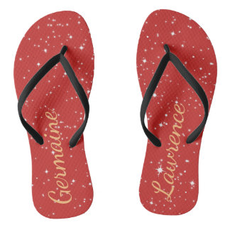 Starry Orange Sky Customizable Flip Flops