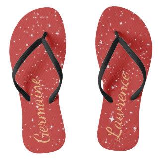 Starry Orange Sky Customizable Flip Flops Thongs