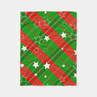 Starry Plaid Christmas Fleece Blanket