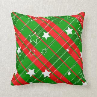 Starry Plaid Christmas Throw Pillow