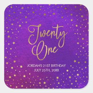 Starry Purple Watercolor 21st Birthday Square Sticker