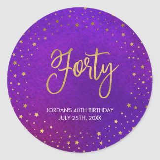 Starry Purple Watercolor 40th Birthday Classic Round Sticker