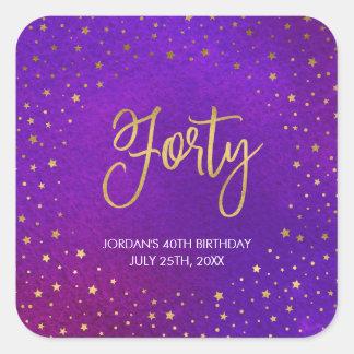 Starry Purple Watercolor 40th Birthday Square Sticker