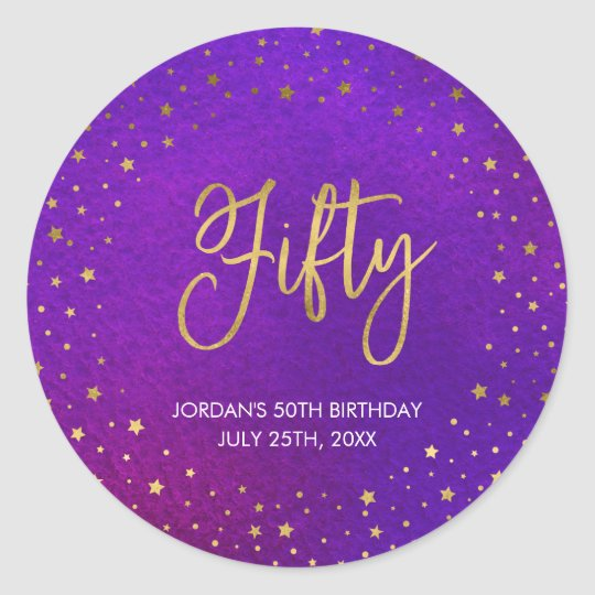 Starry Purple Watercolor 50th Birthday Classic Round Sticker