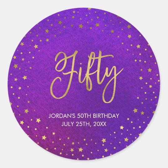 Starry Purple Watercolor 50th Birthday Round Sticker
