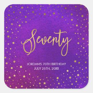 Starry Purple Watercolor 70th Birthday Square Sticker