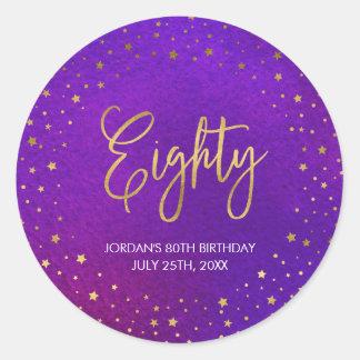 Starry Purple Watercolor 80th Birthday Classic Round Sticker
