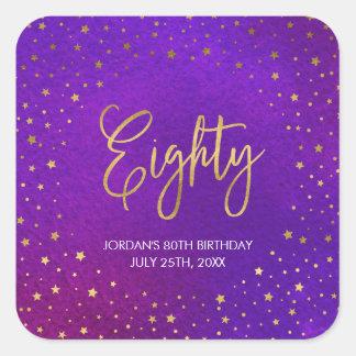 Starry Purple Watercolor 80th Birthday Square Sticker
