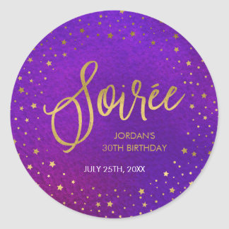 Starry Purple Watercolor Soiree Birthday Party Classic Round Sticker