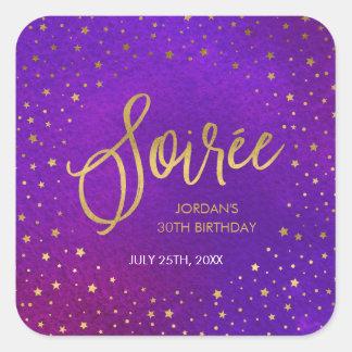 Starry Purple Watercolor Soiree Birthday Square Sticker