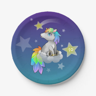 Starry Rainbow Unicorn Customizable Party Plates
