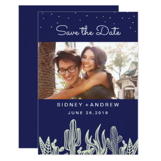 Starry Sky and Cactus Navy Photo Save the Date Card