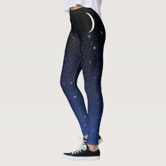 Starry Sky and Crescent Moon, Deep Blue to Black Leggings