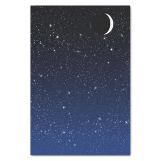 Starry Sky and Crescent Moon, Deep Blue to Black Tissue Paper