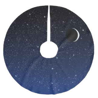Starry Sky and Crescent Moon, Midnight Blue Brushed Polyester Tree Skirt
