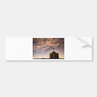 starry sky, church and cross bumper sticker