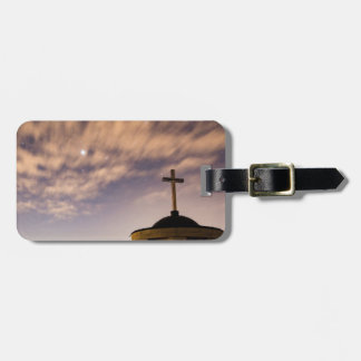 starry sky, church and cross luggage tag