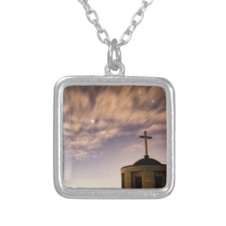 starry sky, church and cross silver plated necklace