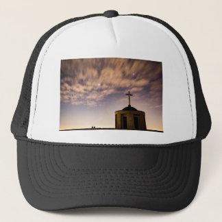 starry sky, church and cross trucker hat