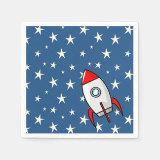 Starry Sky Fat Rocket Ship Disposable Serviette