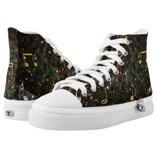 Starry Sky Musical Notes Music Clef High Top Shoes Printed Shoes
