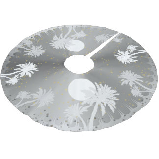 Starry Sky Silver Palm Trees Christmas Tree Skirt