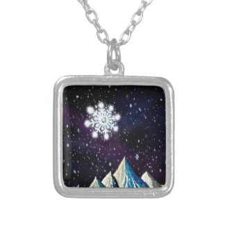 Starry Sky w BIG Snowflakes Silver Plated Necklace