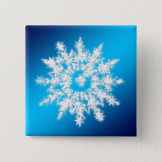 Starry Snowflake Square Christmas Button
