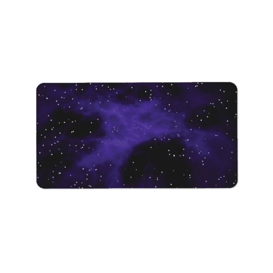 Starry Space Nebula Scene Label