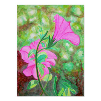 Starry, starry morning glory watercolor poster