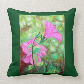 Starry, starry morning glory watercolor throw pillow