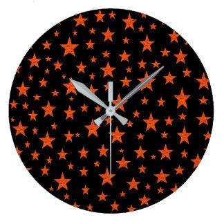 Starry Starry Night Orange Large Clock