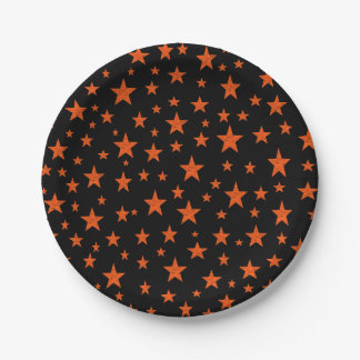 Starry Starry Night Orange Paper Plate