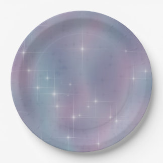 Starry Teal and Mauve 9 Inch Paper Plate