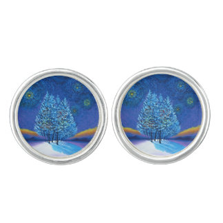 Starry Van Gogh Style Blue Christmas Cufflinks