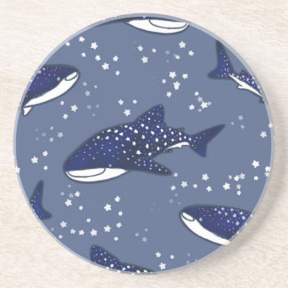 Starry Whale Shark (Dark) Drink Coasters