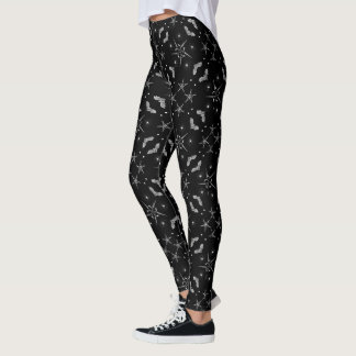 Stars and Bats Occult Gothic Damask Print Leggings